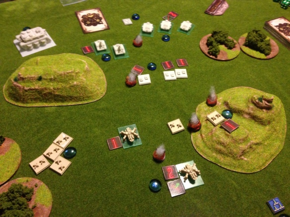 The middle of the battle field is carnage, as shells are traded and the dead mount up...
