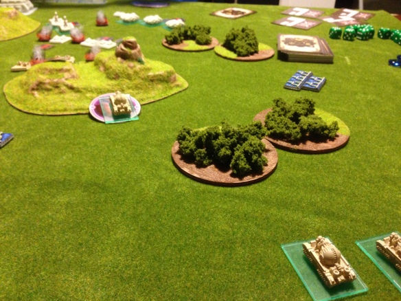 A salvo from the British Cromwells causes a critical hit on one of the Covenant bombards... a sturginium flare erupts, destroying the model and teleporting into the hill ahead of the squadron.