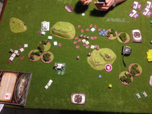 The carnage across the board is intense.  Blows are traded on both sides and the balance of the engagement swings both ways.  On the left flank the British MKIIs move into position, and the Sovereign Class Landship hoves into view...